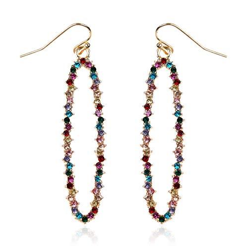 RIAH FASHION Sparkly Rhinestone Lightweight Geometric Hoop Drop Earrings - Teardrop, Pear, Oval, Marquise, Circle, Multi Cubic Crystal, Acrylic Pearl Dangles (Long Oval - Multi)