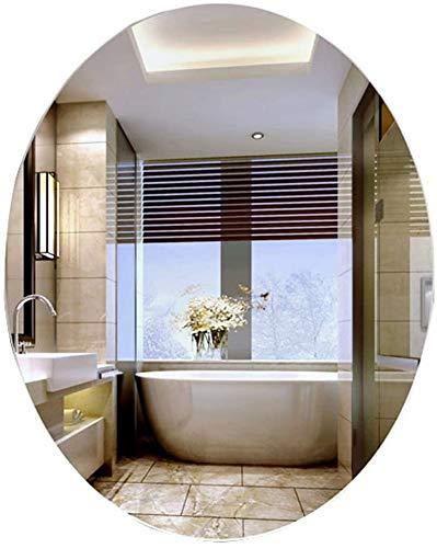 Espejo de pared Espejo de baño Espejo colgante |Espejo de afeitar y maquillaje de vanidad de pared, incluye accesorios para colgar |Agujeros pretaladrados |Espejo de baño ovalado sin marco montado