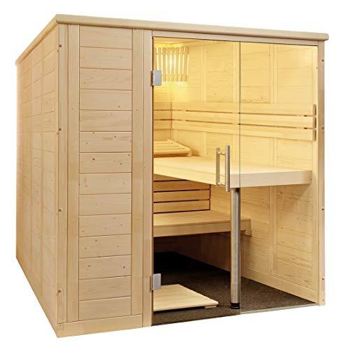 SAUNELLA Sauna mit Ofen + Verdampfer | Bausatz Heimsauna – Saunakabine Maße: 208 x 158 x 204 cm | Saunaofen Komplett Sauna Zubehör Ecksauna Massivholz | mit ext. Steuerung 3,4 kW