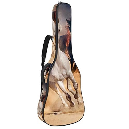 Horse Manada Run In Desert Sand Storm Against, funda de transporte protectora impermeable con asa de transporte para guitarras acústicas, clásicas y eléctricas