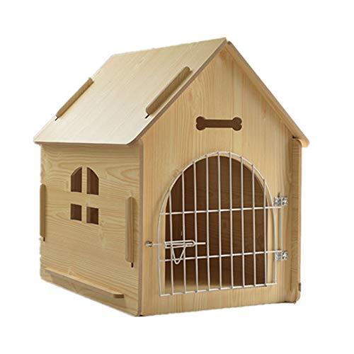 GXHGRASS Houten hondenhond met ijzeren deur, vier seizoenen universeel warm kat house, eenvoudige installatie, voor kleine en middelgrote dieren, perfecte tuin