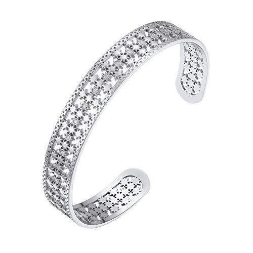 PROSTEEL Damen Offener Armreif Edelstahl Sterne Design Armspange verstellbar Retro Stil Manschette Armband Modeschmuck Accessoire für Frauen Mädchen