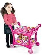 Doll guests and playmates alike will discover the joys of a ritual tea time! Rolling Cart with Removable Tray to Display All the Goodies 28-Piece Afternoon Tea Time Trolley Pretend Play Set Promotes social skills such as sharing, and serving others w...