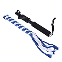 POPETPOP 犬ロープじゃれ犬噛む犬おもちゃ犬訓練用釣竿型伸縮できる杖付き大型犬丈夫(黒)サイズs