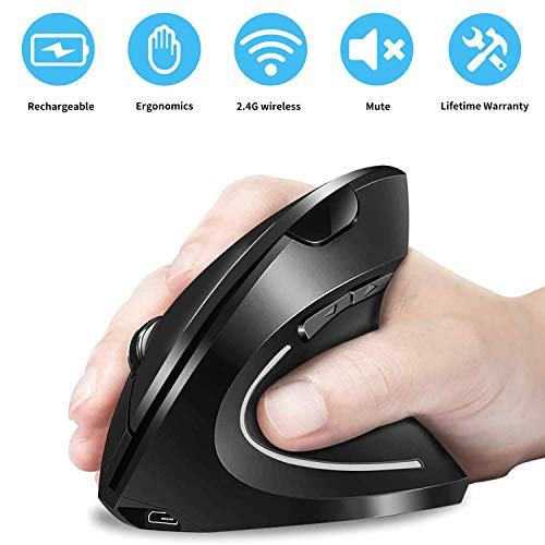 2.4G Wireless Ergonomic Vertical Mouse, DOOMIER Rechargeable Ergonomic Vertical Cordless Optical Mice with USB Receiver, 6 Buttons 3 DPI 1000/1200/1600 for Desktop, Laptop, Chromebook, Black