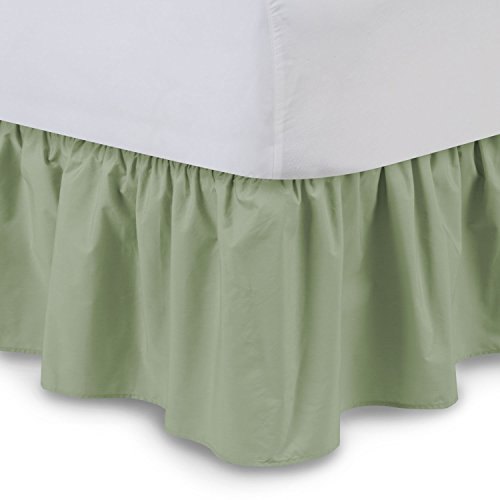 ShopBedding Ruffled Bed Skirt (Queen, Sage) 14 Inch Drop Dust Ruffle with Platform, Poly/Cotton Fabric, Available in All Bed Sizes and 16 Colors - Blissford