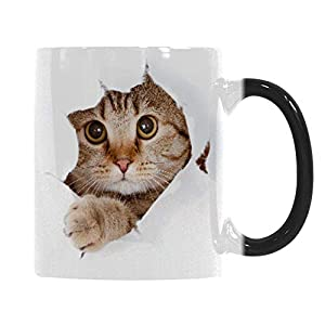 Heat Changing Mug, Caliamary Funny Cat Heat Changing Ceramic Coffee Mug, 11 oz Heat Sensitive Color Changing Coffee Mug Cup, Cute Xmas Gift Mug for Women Men Kids