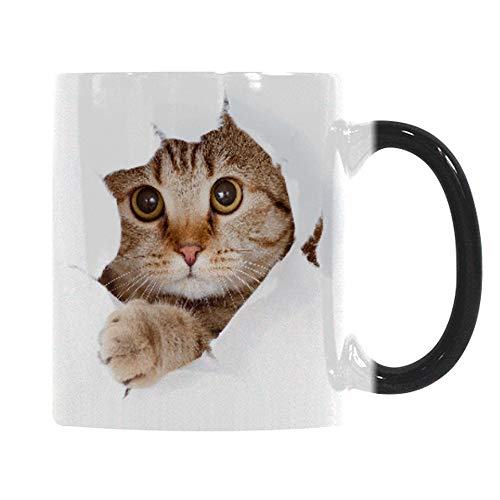 Heat Changing Mug, Caliamary Funny Cat Heat Changing Ceramic Coffee Mug, 11 oz Heat Sensitive Color...