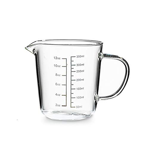 HARVESTFLY - Jarra medidora de cristal, vidrio resistente al calor, 350 ml/450 ml, escala para OZ, ML, Cristal ecológico sin plomo., Escala negra., 350 ml