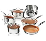 Gotham Steel 10 Piece Pro Chef Cookware Set Premium Copper Nonstick Pots and Pans– Tri-Ply Bonded, Coated with Titanium and Ceramic Surface for the Ultimate Release – Dishwasher Safe, Stainless Steel
