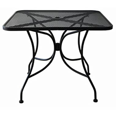 Oak Street Manufacturing OD3030 Square Black Mesh Top Outdoor Table, 30  Length x 30  Width