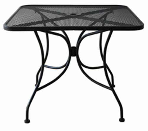 """Oak Street Manufacturing OD3030 Square Black Mesh Top Outdoor Table, 30"""" Length x 30"""" Width"""