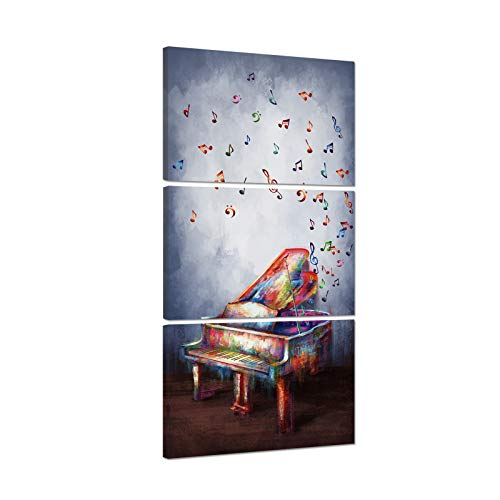 iHAPPYWALL Abstract 3 Pieces Music Wall Art Colorful Melody Piano Music Notes Instrument Painting on Canvas for Home Bedroom Decoration Stretched and Framed Ready to Hang 16x24inchx3pcs