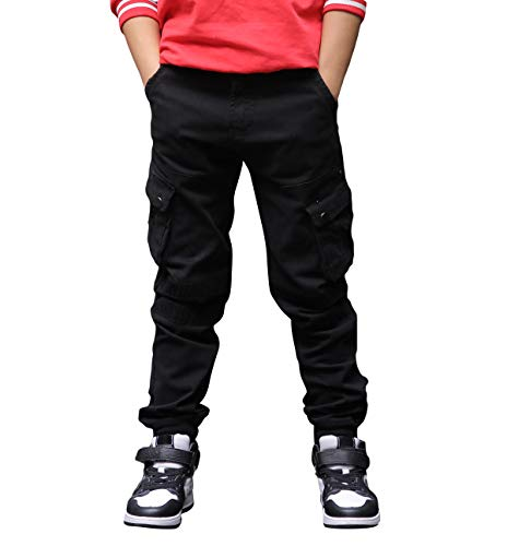 CAMLAKEE Hosen für Jungen, Kinder Cargohose Slim Fit, Joggers mit Verstellbarer Taille, Schwarz, 128 / Größe 10