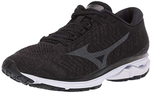 Mizuno Women's Wave Rider 23 WAVEKNIT Running Shoe, Black-Dark Shadow, 8 B