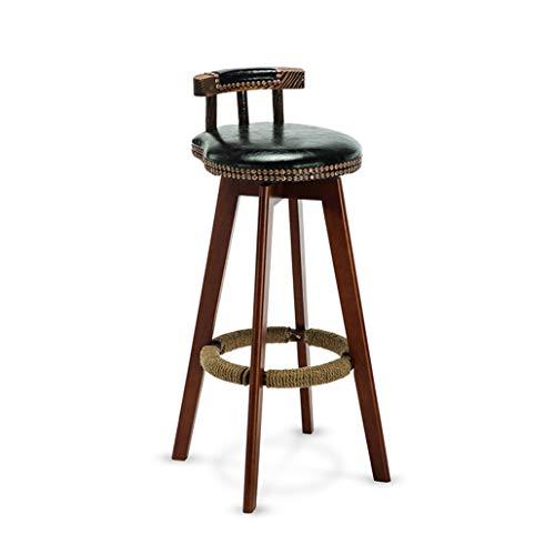 Auart Vintage rustieke swivel teller keuken barkruk hout LWS-binnenshuis bistro teller Pub Cafe leder-henneptouw voetsteun