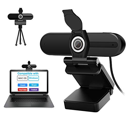 Laptop Webcam with Microphone Desktop PC Web Cameras for Computers Windows 10 MAC with Privacy Cover 90 Degree Wide Angle 1080P HD USB Webcam for Streaming Video Calling Recording Zoom Conference