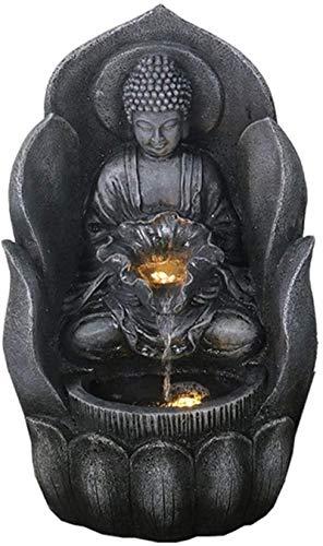 Home Art Decor Crafts Inicio Oficina Decoración de Escritorio Zen Buddha Tablero Fuente de Agua 11/22 'Cascada con luz LED Feng Shui Decoración para mesa de mesa de mesa o estacionamiento de tierra Ca