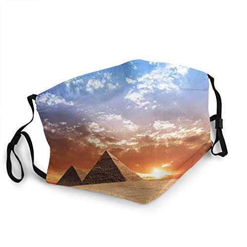 ZVEZVI ?gyptische ?gypten Pyramide Historische Geb?ude Panorama Sonnenuntergang Denkmal Geschichte Gesichtsbedeckung Wiederverwendbar, waschbares Tuch, Gesichtsbedeckung, Paar bequeme waschbare Maske