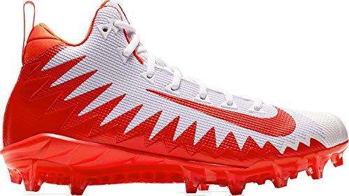 Nike Alpha Menace Pro Mid Mens Football Cleats (11.5, White/Rush Orange)