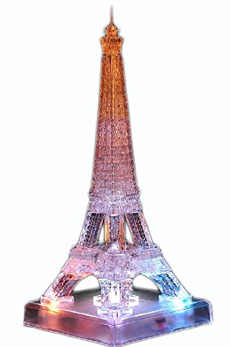 Construction 3D Crystal Puzzle Toy, Light Up Clear Eiffel Tower