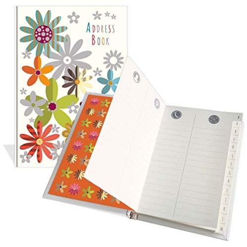 Rubrica per indirizzi tascabile di lusso, design con graziosi fiori, 104 pagine, dimensioni 91 mm x 130 mm
