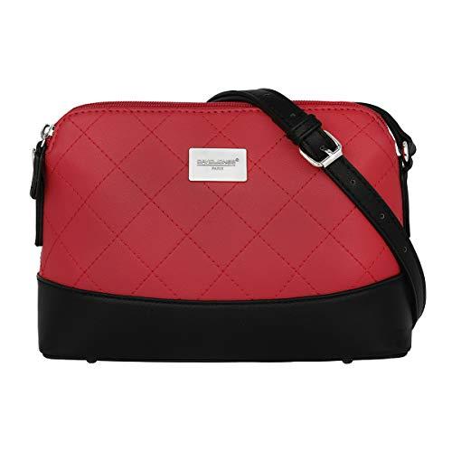 David Jones - Damen Gestepptes Leder Umhängetasche - Frauen Steppmuster Klassisch PU Leder Schultertasche - Viele Taschen Abendtasche - Zipper City Crossbody Bag - Elegante Feste Tasche - Rot
