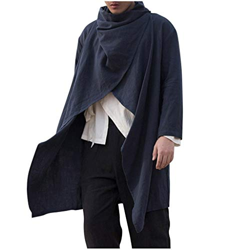 Yowablo Bluse Top Herren New Spring Mittellange Cape Cardigan Fashion Langarm (3XL,Marine)