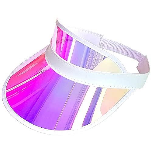 200 Pcs Sun Visor Hat Women Men Iridescent Clear Sport Outdoor Cap (200-PCS Pink)