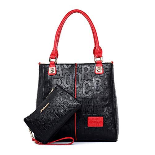 BUKESIYI Mujer Bolsos Bandolera Vestir Casual Bolsos de Mano Convertible PU Cuero Piel CCES77502 Fekete