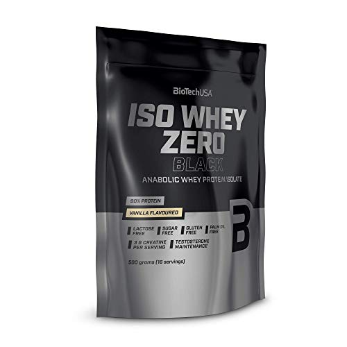 BioTechUSA Iso Whey Zero Black Flavoured Protein Powder Drink with 90% of Protein, Added creatine, Amino acids and zinc chelate, with Vitamin B3, 500 g, Vanilla