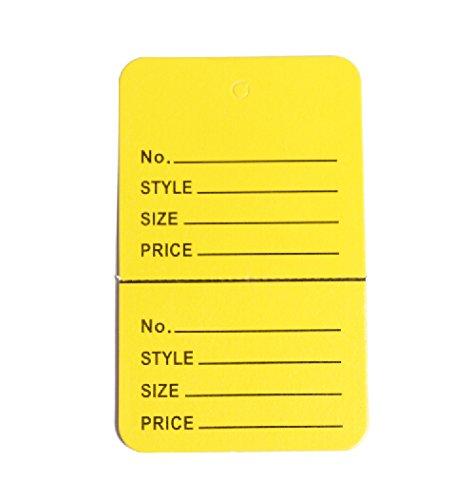 "Only Garment Racks Price Tags 1-3/4""x2-7/8"" Yellow 1000Pcs/Box"