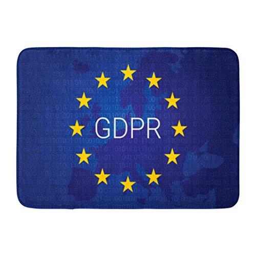 NALLK-7A Alfombras de baño Alfombrilla de Puerta Gdpr Europeo Reglamento General de protección de Datos Mapa de la UE y Bandera Seguridad de la Unión 15.8'x23.6