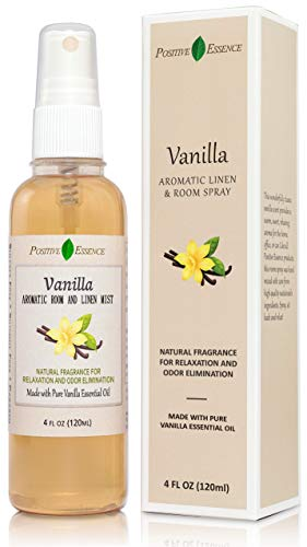 Positive Essence Vanilla Linen and Room Spray, Natural Aromatic Mist Made with Pure Vanilla Essential Oil, Relax Your Body & Mind, Perfect as a Bathroom Air Freshener Odor Eliminator