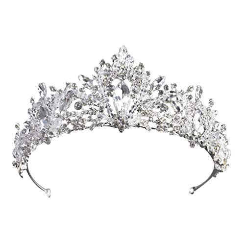 Minkissy Barock Brautkronen Und Diademe Silberkristalle Strasssteine ??Hochzeitskönigin Kronprinzessin Braut Diademe Stirnband für Frauen Hochzeit Geburtstage Halloween