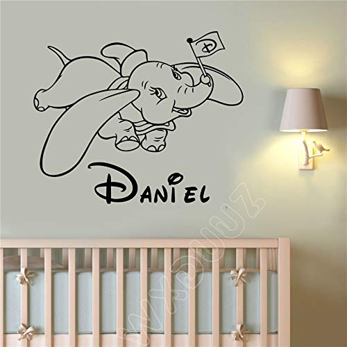 Hetingyue schattige cartoon olifant aangepaste naam kinderen kleuterschool decal quote huis decoratie vinyl muur sticker decoratie