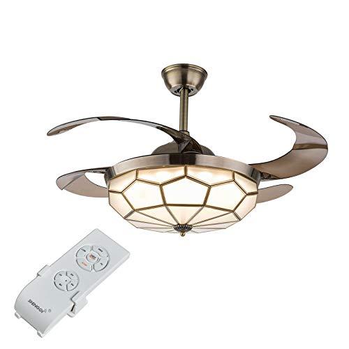 Lámpara de techo Tiffany de 100 cm, con interruptor de silencio, ventilador de techo LED, luces con 4 cuchillas retráctiles, mando a distancia