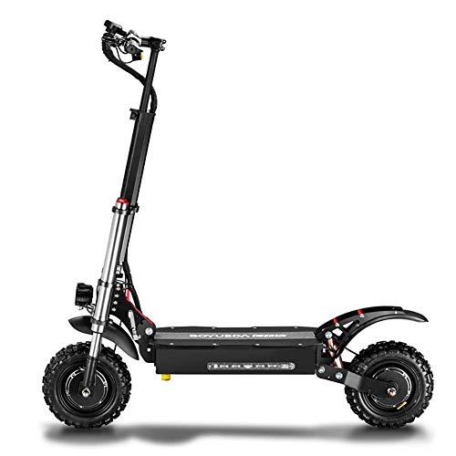 Zzzy Scooter Eléctrico Adultos Manija Y Asiento Ajustables Potente Motor De hasta 2700W Motor Dual Velocidad Máxima 85km/h para Adultos con Batería de Litio 60V,33ah: 90km