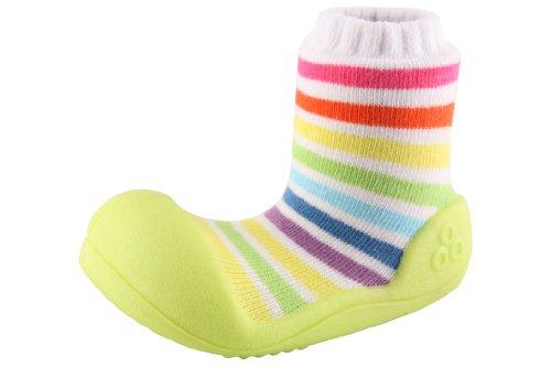 Attipas , {Chaussures premiers pas pour bébé (garçon) Multicolore Multicolore 21.5, blanc - vert / arc-en-ciel imprimée, 22.5