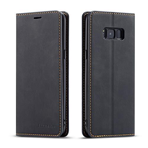 EYZUTAK Hülle für Samsung Galaxy S8, Magnetverschluss Premium PU Leder Flip Case mit Kartenfächern Brieftasche Standfuntion stoßfeste Silikonhülle Retro Ledertasche - Schwarz