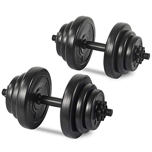 PITHAGE Dumbbells Set Adjustable Weight 45 LBS Pair Fitness Exercise Home Gym