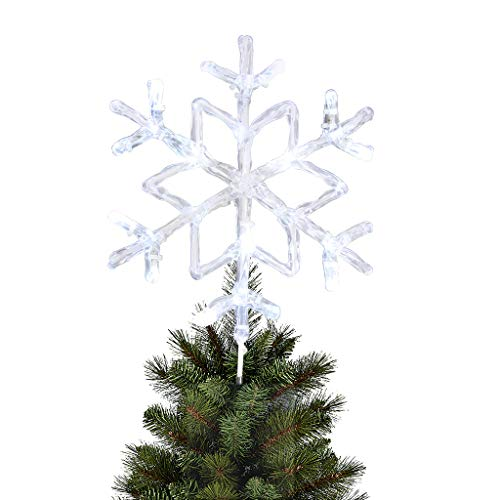 "EAMBRITE 9.5"" Frozen Crystal Twinkle Snowflake Christmas Tree Topper Bright Cool White Led Treetop Light for Home Party Holiday Winter Xmas Decorations"