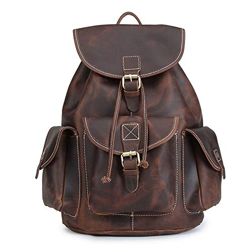 Sebasty Backpacks Retro Backpacks Men's And Women's Bags Top Layer Of Cowhide Retro Do Old Style Crazy Horse Leather 41 * 31 * 15CM