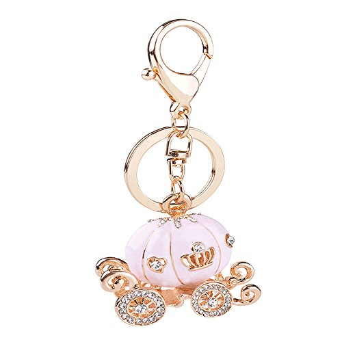 SPHTOEO Cute Big Pink Princess Pumpkin Carriage Crystal Charm Keychain Key Ring