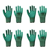 4 Pairs of Gardening Gloves Green Non Slip with Latex for Gardening Clamming...