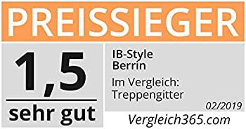 ib style® Berrin ! GAGNANT DU TEST ! Barrière de sécurité 58-175 cm | Sans perçage| Auto-Close | 67-75 cm