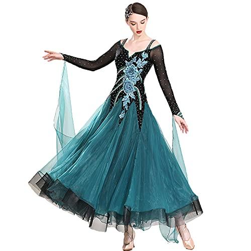 BFDMY Professional Ballroom Dance Dresses for Women,Mesh Long-Sleeved Waltz Competition Performance Costume,High-end National Standard Dance Dress with Rhinestones,Big Swing Skirt,Grün,3XL