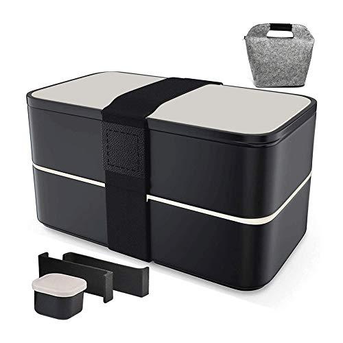 Scatole Bento, Lunch Box, Bento Container 2 Compartimento Ermetico con Riutilizzabili Posate E Lunchbag Stile Giapponese A Microonde Lavastoviglie, for Adulti, Bambini E Studenti