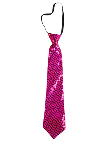 Takestop® - Corbata de lentejuelas, color fucsia, con lentejuelas, de raso, para hombre y mujer, Slim fiesta