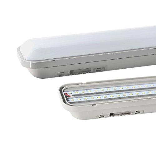J&C® 120cm(4ft) IP65 Wasserdicht Feuchtraumleuchte Wannenleuchte, Sehr Hell 36W 2835 SMD 3000LM 4500K Naturweiß Leuchtstofflamp für Garage und Schwimmbad